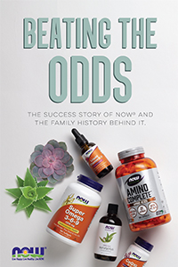 cover of Beating the Odds book contains images of several NOW products