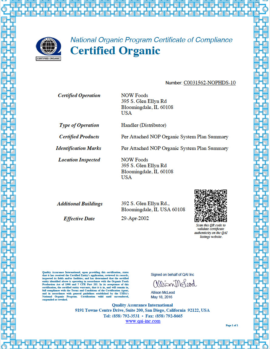 Organic Certification Now Foods