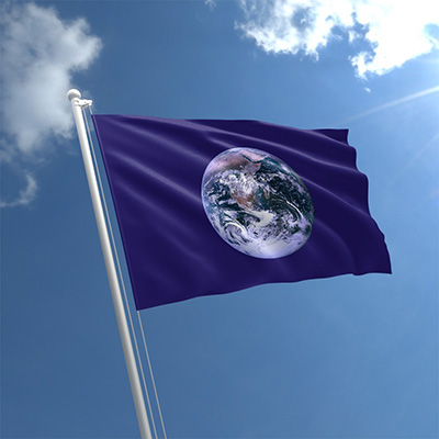 earth flag flying inline