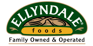 """A logo for Ellyndale Foods that reads """"Ellyndale Foods. Family Owned & Operated"""" and uses a dark green, yellow, and brown color scheme with a fork and spoon for imagery."""