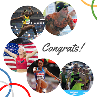 Five NOW Ambassadors that made the U.S. Summer Olympics team are pictured in individual circles.