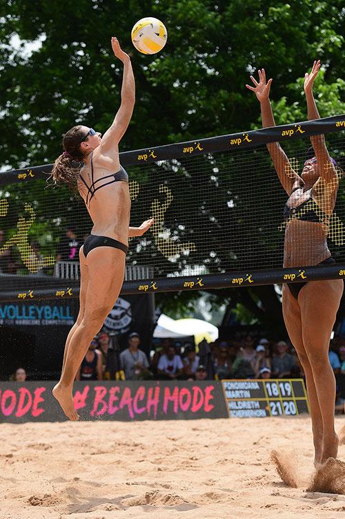 kim hildreth spikes volleyball
