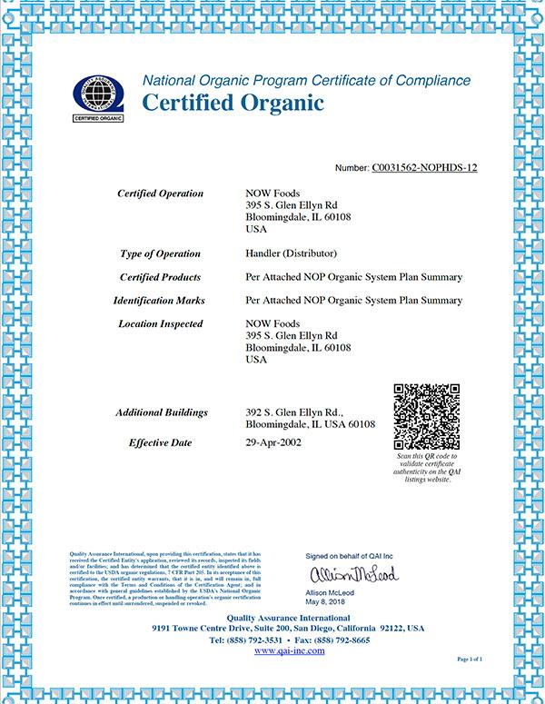 organic certificate distributor bloomindale