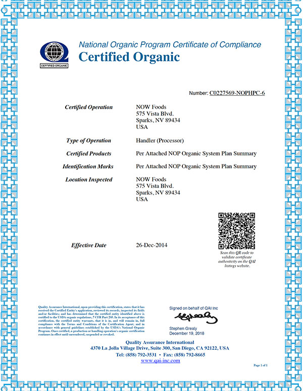 organic certificate sparks processor