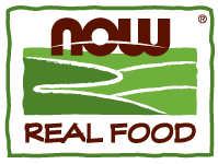 A logo for NOW Real Food that includes the name in dark red font with an abstract image of a landscape in green for imagery.