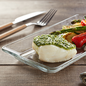 Fresh Pesto with Baked Wild Cod
