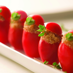 Organic Amaranth-Stuffed Cherry Tomatoes