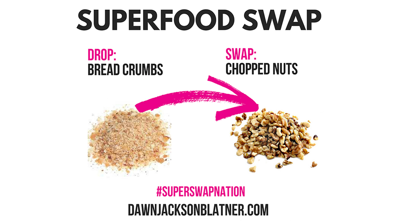 An infographic that promotes substituting for healthier foods that reads: